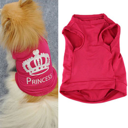 Wholesale Wholesale Pet Halloween Costumes - Stylish 2015 fashion summer Pet Dog Cat Cute Princess T-shirt Clothes Vest Summer Coat Puggy Costumes clothes clothing for dogs TY421