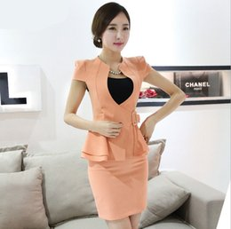 Wholesale Work Skirt Suits Styles Women - spring summer 2 piece set women crop top and skirt suit new 2015 business formal suits work office uniform style xxxl orange