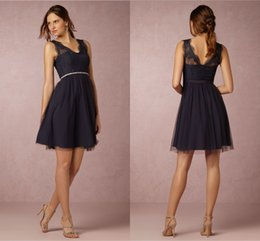Wholesale Cheap Dresses For Wedding Occasions - BHLDN Navy Blue Bridesmaid Dresses 2017 A-Line V-Neck Knee Length Lace Maid Honor Special Occasion Dresses For Wedding Cheap
