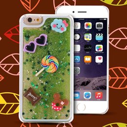 Casi di glitter iphone6 online-Custodia per iPhone 6 / I6 Plus Cartoon Funny Rainbow e Lollipop Pattern Dynamic Liquid Glitter Cover Custodia rigida per iPhone6