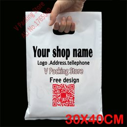 Wholesale Logo Print Plastic - Wholesale-30*40cm Custom print plastic bags packaging gift bag for shopping garment handle carrier logo brand designed PE bags Wholesale