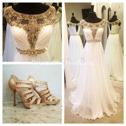 Wholesale Shirred Dress Straps - Fashion prom dresses 2016 vestidos de festa elegant cap sleeve gold beads shirred bodice white chiffon formal long fast shipping