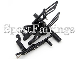Wholesale Yamaha R1 Rear Sets - Black Silver Adjustable CNC Billet Rearset Rear Set Footrest Foot Set Footpegs For Yamaha YZF R1 09 10 11 12 13 2009 - 2013 Motorcycle New