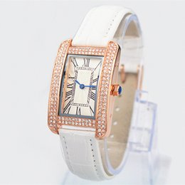 Wholesale Rome Steel - 2017 New model Free shipping Fashion women leather watch with Diamond Rose Gold famous dial watch Retro Rome lady wristwatches hot sale