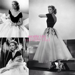 green gowns for sale Coupons - Grace Kelly 1950s Classic Evening Dresses For 2019 Sale Cheap Tea Length Princess Style Arabic Dubai Off Shoulder Prom Party Gowns