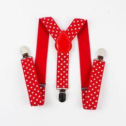 Wholesale Wholesale Canvas Belt Strapping - Children Suits Polka Dots Suspenders 3 Clip Adjustable Shirts Kids Suspenders for Baby Boys Belt Strap Braces 10pcs lot
