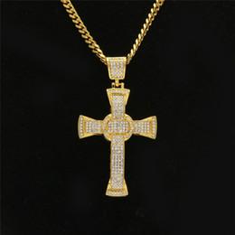 Männliche kreuzkette online-Männer Kreuz Diamant Anhänger Halskette Gold Edelstahl Gliederkette Männlich Anhänger Halsketten Gebet Schmuck Großhandel