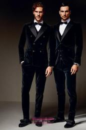 Wholesale Tuxedo Gorgeous Suits - Custom Made Hot Sale Velvet Groom Tuxedos Gorgeous Man Groomsman Men Wedding Suits Bridegroom Suit (Jacket+Pants)