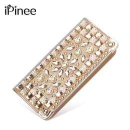 Wholesale big money wallet leather - Ipinee New Fashion Pu Leather Clutch Bags Long Gold Diamante Women Wallet Money Clips Female Big Purse