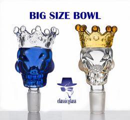 Wholesale Quartz Size - BIG Size Skull Style Herb Holder With Crown Glass Bowl Glass Slide Smoke Accessory For Glass Bong Quartz Banger Nails