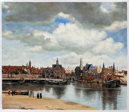 Wholesale View of Delft by Jan Vermeer van Delft Oil Hand Painting on Canvas for Home Decoration H