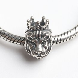 Wholesale Lion Pandora - Fits Pandora Bracelets 4.5mm lion head dangle charms Silver Beads Cubic Zirconia 100% 925 Sterling Silver Charms for DIY Jewelry