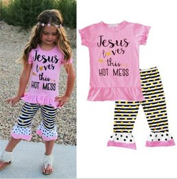 Wholesale girls childrens clothes - 2018 Girls Baby Childrens Clothing Sets Letters Arrow Toddler tshirts Pants 2Pcs Set Summer Kids Tees Tops Boutique Clothes Outfits A1