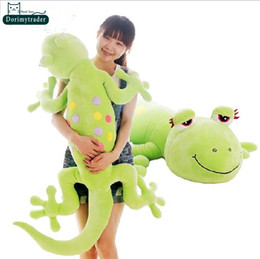 Wholesale New Gecko - Dorimytrader 73''   185cm Lovely Soft Plush Cute Stuffed Large Animal Gecko Toy, 3 Colors and Nice Kids Gift, Free Shipping DY60699