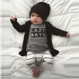Wholesale Boys 24 Months Pajamas - INS Boys Baby Childrens Clothing Sets Letters tshirts Striped Harem Pants 2pcs Set Cotton Toddler Spring Autumn Home Pajamas Infant Clothes