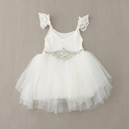 Wholesale Cap Sleeve Accessories - Babies Girls Tutu Lace Party Dresses Lace Puff Sleeve Halter Dresses Western Fashion Diamond Accessories Decorations Party Dresses