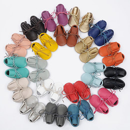 Wholesale Wholesale Lace Booties - new 20styles baby genuine leather moccs infant girl boy solid fringe shoes with lace girl leather prewalker booties toddlers shoes