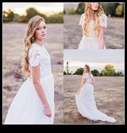 Wholesale Vintage Garden Wedding Evening Dress - 2016 Spring Summer Short Sleeve Wedding Dresses V Neck Lace Chiffon Garden Beach Bride Gown Bridal Dress Evening Prom Gowns vestido de novia
