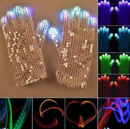 Wholesale Luminous Rave - 2pcs pair Flashing Sequins Gloves Light 6 Mode LED Gloves Mittens Costumes Rave Riding Party Supplies Luminous Gloves CCA8233 50pairs