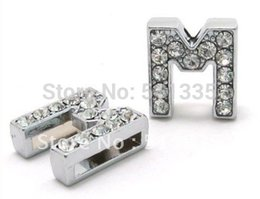 Wholesale Wholesale 8mm Leather Band - Wholesale Price ! 50PCS lot 8mm M Silver Rhinestone Slide Letter DIY Accessories For 8mm Leather Band