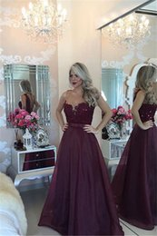 Wholesale Ladies Neck Corsets - Sheer Neck Straps Sexy Lady Purple Grape Long A LIne Prom Dresses 2016 Custom Made Plus Size Lace Evening Gown corset prom dress