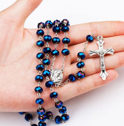Wholesale Rosary Blue - Jesus Rosary Blue Necklace Long Chain Beads Silver necklace Cross beads necklace For Men women