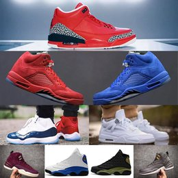 Wholesale Retro Bordeaux - Retro 3 Grateful 5 red blue suede 11 Gym Red Chicago Midnight Navy WIN LIKE 82 UNC 12 Bordeaux Men Basketball Shoes Sneakers