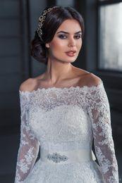 Wholesale Formal Bolero Jackets - Romantic Sexy 2016 Cheap Bridal Bolero Jacket White Long Sleeves Lace Beads Off Shoulder Illusion Button Back Formal Bridal Wraps Plus Size