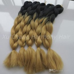 Wholesale colored extensions wholesale - 100% Kanekalon jumbo braiding hair Ombre Black&27F 24 inch Two Tone Colored Braiding Synthetic Hair Extension