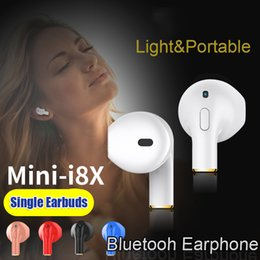 Wholesale Bluetooth Wireless Mobile Phone Headset - Mini-I8X Wireless Bluetooth Single Earphone with Microphone Music Sport Headset Universal for Iphone 8 8 plus Samsung Xiaomi Mobile Phones