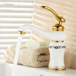 "Wholesale Porcelain Paint Sink - Free shipping 8"" White Painted & Porcelain Faucets Bathroom Sink Basin Mixer Brass Faucet Mixer Tap A4155"