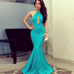 Wholesale Turquoise Satin Short Dresses - Turquoise Blue Cheap Mermaid Prom Dresses 2017 Sexy Halter Elastic Satin Floor Length Custom Made Backless Michael Costello Evening Gowns