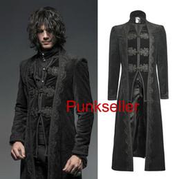 Giacche in velluto xxxl online-Cappotto da uomo moto autunno-punk lungo in velluto nero Giacca steampunk cavallerizzo Y651 S-XXXL