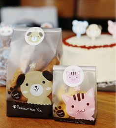 Wholesale Cookies Plastic Bag - 200pcs lot Open-top cute dog & cat design Bakery food packaging ,cookies bags,food packaging,OPP Plastic bread bags, with Free Stickers.