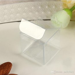 Wholesale Clear Candy Container Wholesaler - Top Quality 3x3x3 CM PVC Clear Package Box Square Plastic Containers Gift Box Candy Towel Cake Box Free Shipping