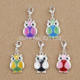 Wholesale Owl Charms Enamel - 20pcs Silver Mixed Dangle Charms Enamel Owl Lobster Claw Clasp Charm Pendants DIY Jewelry Findings 31X14mm F0468