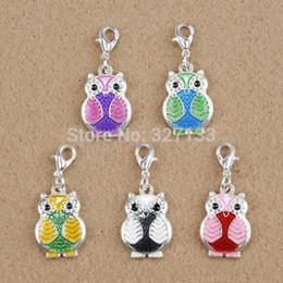 Wholesale Enamel Owl - 20pcs Silver Mixed Dangle Charms Enamel Owl Lobster Claw Clasp Charm Pendants DIY Jewelry Findings 31X14mm F0468