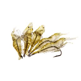 Wholesale Diy Fishing Tackle - 5Pcs pack 4cm 2g Vivid Shrimp Prawn Soft Fishing Lure PVC Super-Lightweight DIY Artificial Bait With Hook Fish Tackle Tools