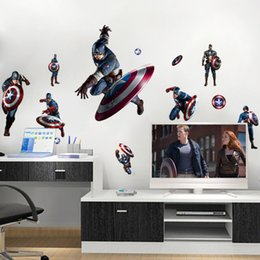Wholesale People Heroes - Captain America Shield Defense Avengers Wall Decal Stickers Peel & Stick Avengers Wall Art Murals Super Hero Avengers Decor Stickers