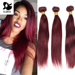 Wholesale 24 Inch Red Hair Extensions - ELIBESS HAIR-Straight Wave Burgundy 99J Red Color 50g piece 3 Bundles Double Weft Hair Extension