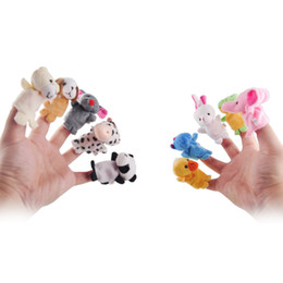 Wholesale Wholesale Toys For Kids - New Baby Plush Toy Hand Finger Puppets Talking Props Helpers 10 Animal Group Play Game for Kid 10pcs set Kids Gifts 2107021