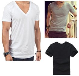 Wholesale men basic - Men's Clothing Summer Basic T shirt with V-Neck Sada Cotton Casual Short-sleeved White Black Gray Stylish Casual Gym Tops Tee Run Small M120