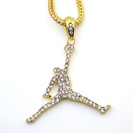 Wholesale Rhinestone Basketball Jewelry - 3 Colors Fashion Basketball Sports pendant Hip hop Necklace Jewelry Bling Bling Iced Out N623