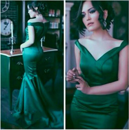 Wholesale Emerald Green Short Dresses - Vintage Emerald Green Formal Evening Dresses Elegant 2016 Off the Shoulder Mermaid Prom Gowns Sexy Backless Vestidos De Festa Court Train