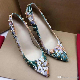 Wholesale Sequin High Shoe - 2017 Luxury Brand Christian Red Bottom Spiked High Heels Women Sequins Heels Party Wedding Shoes Pointed Toe Pumps Causal Shoes