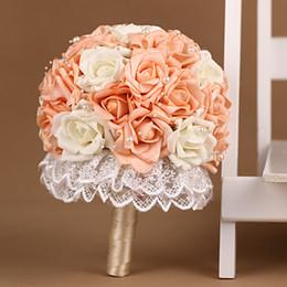 Wholesale Silk Champagne Bridal Bouquets - Champagne Ramos De Novia Lace Patterns Buques De Noivas Flores Beautiful Beach Wedding Bouquet Bridal Artificial Flowers 2016