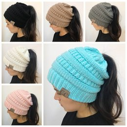 Wholesale Knitted Beanies - Christmas Gift Women CC Ponytail Caps CC Knitted Beanie Fashion Girls Winter Warm Hat Back Hole Pony Tail Autumn Casual Beanies