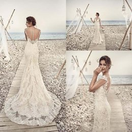 Wholesale Capped Sleeve Applique Dress - 2017 Wedding Dresses Plus Size Mermaid Appliques Lace Gorgeous Sheer Neck Back Cap Sleeve Vintage Lace Wedding Bridal Gowns Custom Made