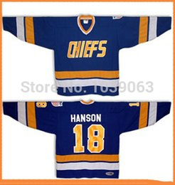 Wholesale brother full - Cheap Sports #18 Jeff HANSON Brothers Charlestown Ice Hockey SlapShot Movie Chiefs white blue Jersey Custom Any No. Name Sewn On