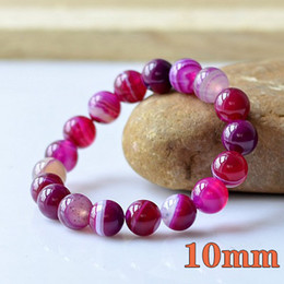 Wholesale Natural Stone Jewelry Round Beads - Rose color Charm natural agate precious stone Round Shape Beads Lava Stone chakra healing Bracelets Jewelry Gift